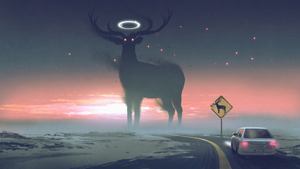 a legendary creature concept showing a car running into animal zone, the giant deer with glowing halo on the road, digital art style, illustration painting..