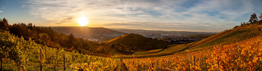 Photo sur Plexiglas Vignoble Autumn sunset view of Stuttgart sykline overlooking the colorful vineyards. The iconic Fernsehturm as well as the soccer stadium are visible. The sun is about ot set over the Neckar Valley.