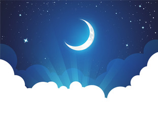 Obraz Night with Moon and Stars - Vector placard illustration with copy space at bottom. Flyer with Moonlight night for illustration of fairy tale, fantasy or calendar events. - fototapety do salonu