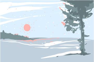 Printed kitchen splashbacks Light blue Vector illustration Winter landscape sketch with christmas tree and forest