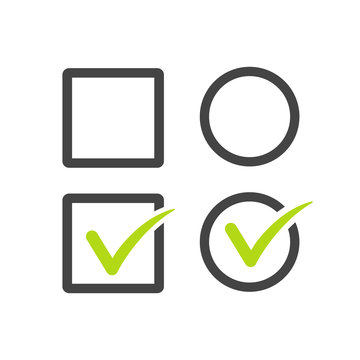 Check uncheck, square and round Checkbox set with blank and checked checkbox line art vector icon for apps and websites. Stock Vector illustration isolated on white background.