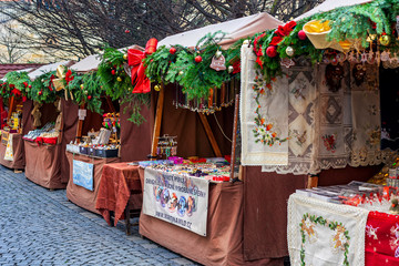 Wooden decorated kiosks on Christmas market in Prague.