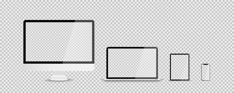 Devices in realistic trendy design on transparent background. Set of computer laptop tablet and smartphone with empty screens. Mock up. Blank screen isolated.
