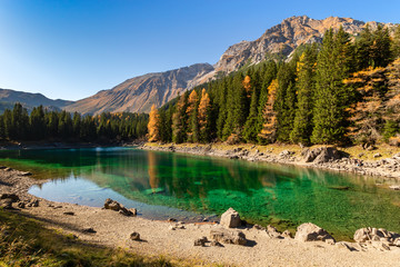 Wall Mural - Beautiful mountain lake with green blue water. Lake Obernberg is a mountain lake located in the Stubai Alps in Tyrol, Austria.