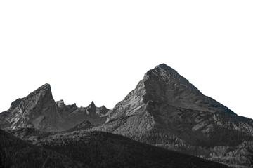 "Isolated high mountain peak ""Watzmann"" in Germany Black and white"