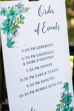 wedding day timeline of events sign