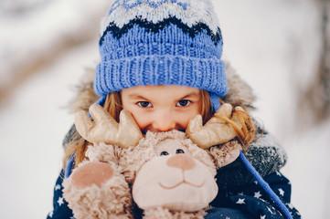 Christmas Penguin Deer Snowflakes Knit Hat Baby Girls