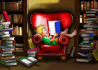 Junge sitzt barfuß bequem in großen Sessel aus Leder in rot ein Buch in der Hand, strahlt ihn an. Er liest begeistert und hat ein lächeln auf den Lippen. Stapel von Büchern um ihn in dieser Bibliothek