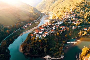 Vranduk castle in Bosnia. Aerial view.