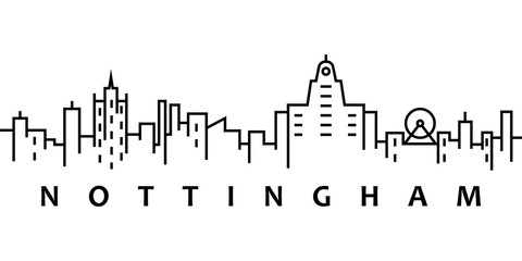 Nottingham cityscape illustration. Simple line, outline vector of city landscape icons for ui and ux, website or mobile application on white background Wall mural