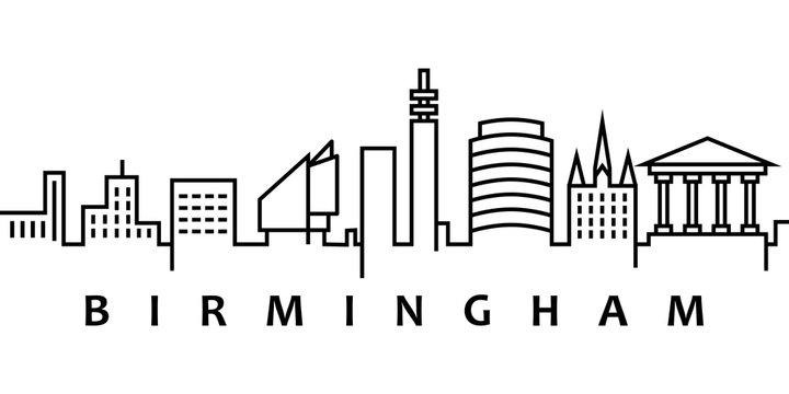 Birmingham cityscape illustration. Simple line, outline vector of city landscape icons for ui and ux, website or mobile application on white background