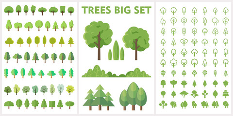 Set of forest and park trees for nature design