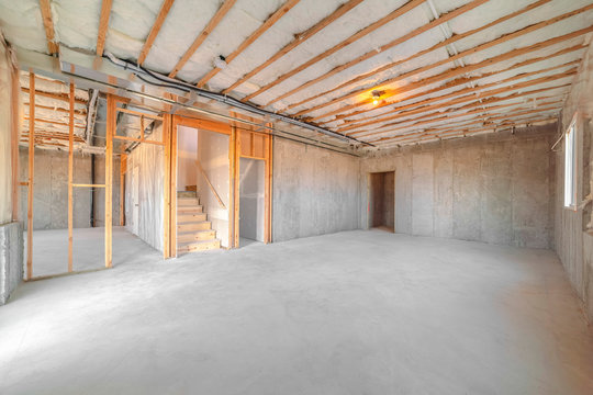 Interior of new home room under construction