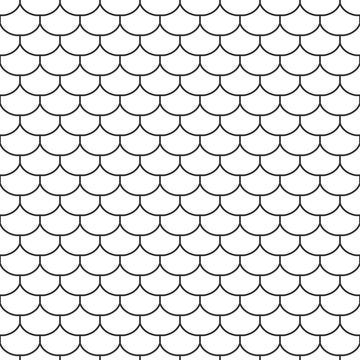Abstract seamless fish scale pattern, outline of black and white tile roof. Design geometric texture for print. Linear style, vector illustration