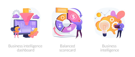 Data analysis, strategic management, analytical research icons set. Business intelligence dashboard, balanced scorecard, business intelligence metaphors. Vector isolated concept metaphor illustrations