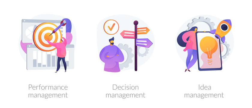 Workflow optimization, business direction choosing, startup launch icons set. Performance management, decision management, idea management metaphors. Vector isolated concept metaphor illustrations