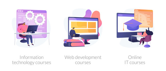 Computer science, internet education, remote studying icons set. Information technology courses, web development courses, online it courses metaphors. Vector isolated concept metaphor illustrations