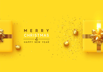Fototapete - Christmas background. Realistic yellow gift boxes, with shiny golden confetti, Xmas balls, decorative baubles. Flat lay, top view. Festive New Year poster, greeting cards, banner. vector illustration