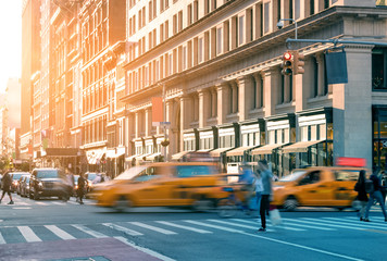Fotomurales - people, society, city, taxi, cab, taxis, street, group, walk, new, york, cross, cabs, yellow, pedestrian, urban, nyc, neighborhood, walk, crowd, sun, busy, downtown, lifestyle, life, manhattan,
