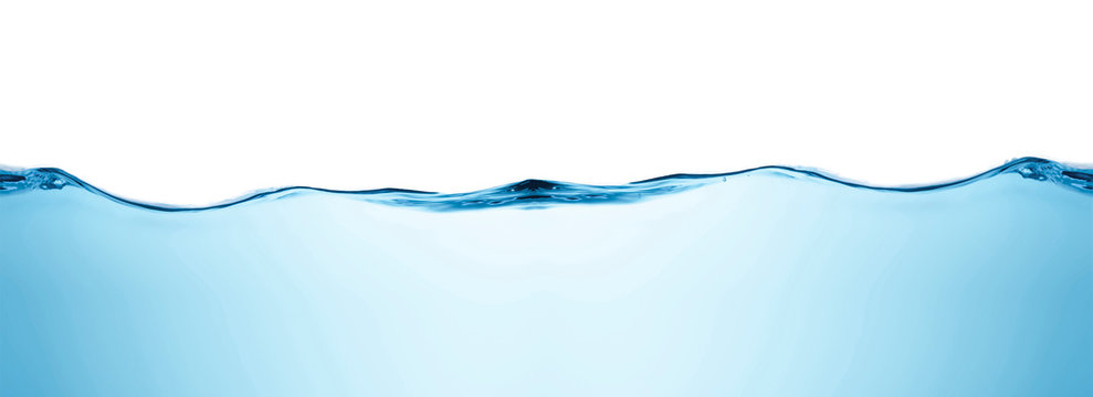 Blue water splashs wave surface with bubbles of air on white background.