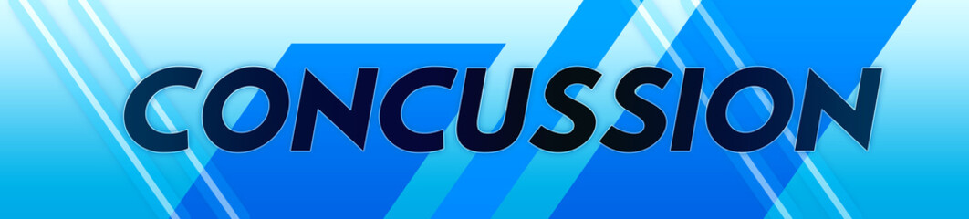 Concussion - clear black text typography isolated on blue background
