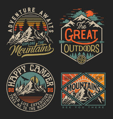 Türaufkleber Retro Collection of vintage explorer, wilderness, adventure, camping emblem graphics. Perfect for t-shirts, apparel and other merchandise