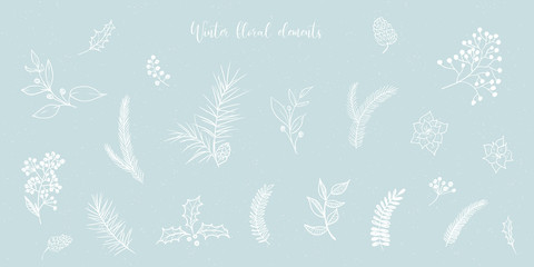Fototapeta Vector Christmas illustration collection of floral fir tree branches on blue snowy craft background. Winter design. Merry Christmas and Happy New Year! obraz