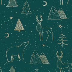 Seamless Christmas pattern with gold bear, reindeer / deer, mountains, moon, spruce on green background. Graphic illustration. Forest scene.