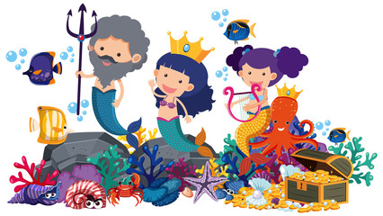 Mermaids and fish underwater on white background