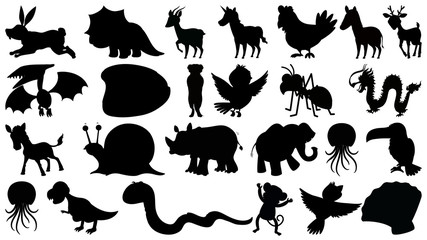 Set of sihouette isolated objects theme - wild animals