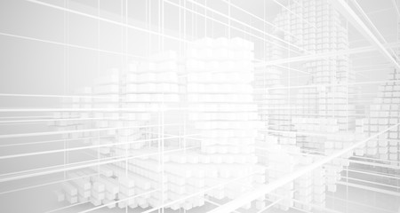 Abstract white architectural interior from an array of white cubes with large windows. 3D illustration and rendering. Fotoväggar