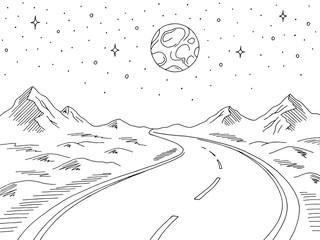 Night road graphic black white landscape sketch illustration vector