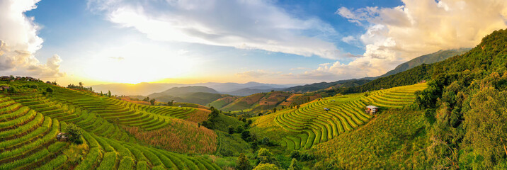 Tuinposter Rijstvelden Panorama Aerial View sunlight at twilight of Pa Bong Piang terraced rice fields, Mae Chaem, Chiang Mai Thailand