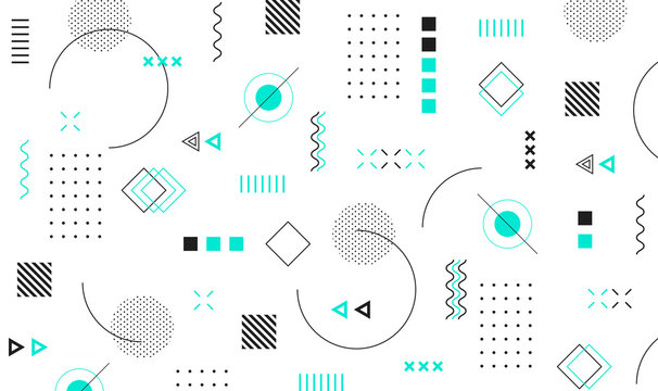 Mega set of memphis design elements, template for your project. Big colorful vector collection