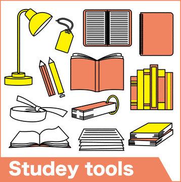 勉強道具のイラスト素材