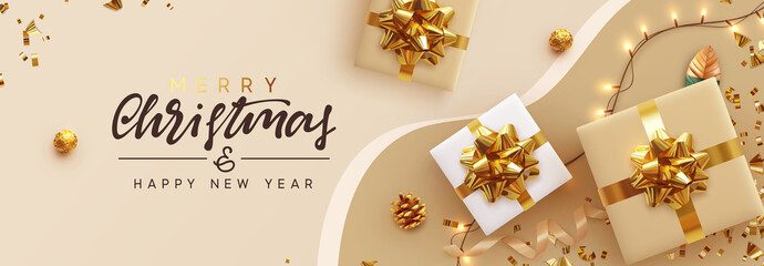Fototapete - Christmas banner. Background Xmas design of sparkling lights garland, with realistic gifts box, glitter gold confetti. Horizontal New Year poster, greeting card, header, website. Design Flat top view