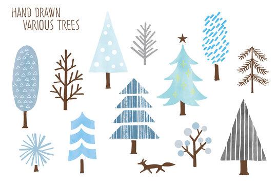 手描きの可愛い木々のイラスト(冬)