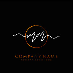 MM Initial handwriting logo with circle template vector