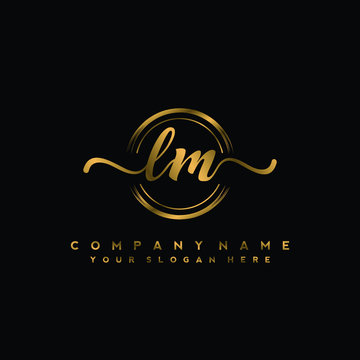 LM Initial handwriting logo design with golden brush circle. Logo for fashion,photography, wedding, beauty, business