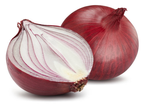 Red onions isolated. Onions clipping path.