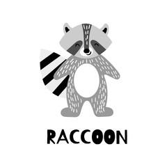 Cute raccoon in trendy scandinavian style. Cartoon animal isolated on white background. Flat vector illustration.