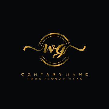 WG Initial handwriting logo design with golden brush circle. Logo for fashion,photography, wedding, beauty, business