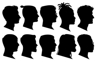 Silhouette man heads in profile. Black face outline avatars, professional male profiles anonymous portraits with hairstyle, vector set
