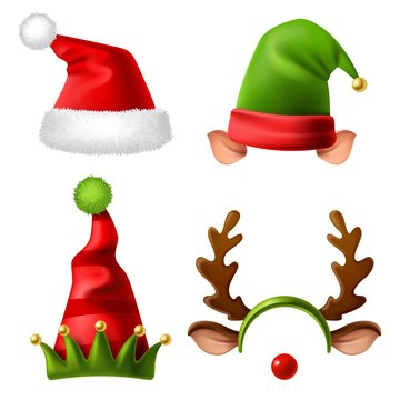 Christmas holiday hats. Santa claus red cute cap, snow reindeer and elves fur hat. Funny winter celebration headwear realistic vector set
