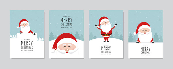Christmas card set. Merry Christmas and Happy New Year greeting with cute santa claus lettering vector. Wall mural
