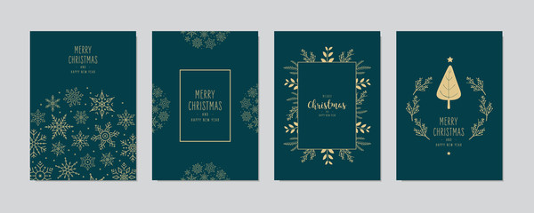 Wall Mural - Merry Christmas modern elegant card set with frame banner greetings gold fir pine branches and snowflakes on green background