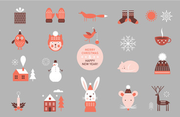 set of vector cartoon elements and characters, icons,  winter theme