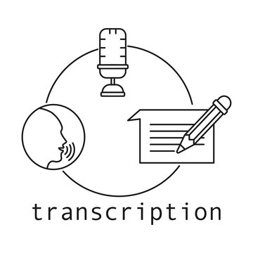 Transcription concept. Outline thin line flat illustration. Isolated on white background.