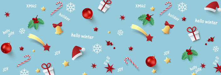 Wall Mural - Christmas composition background.Vector illustration.