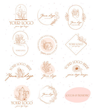 Collection of logos and icons in hand drawn style. Nature, Skin care, Personal brand, psychology and beauty concept illustration. Editable vector illustration.